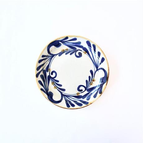 藍ブルー 18cmプレート 唐草紋