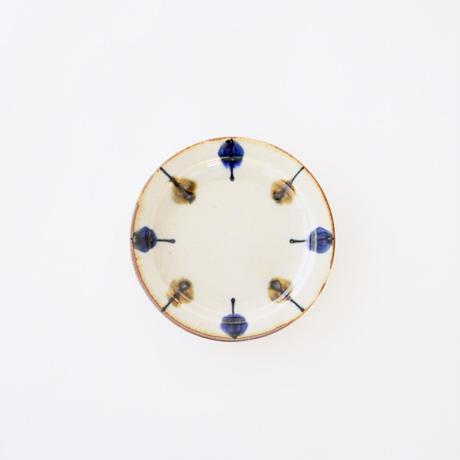 藍ブルー 11cmプレート 一珍水玉紋