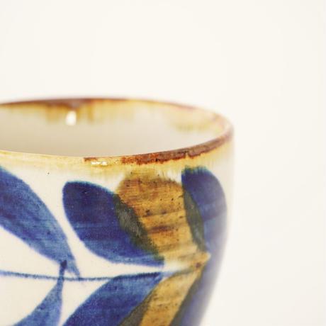 藍ブルー タンブラー  草花紋