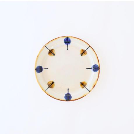 藍ブルー 18cmプレート 一珍水玉紋