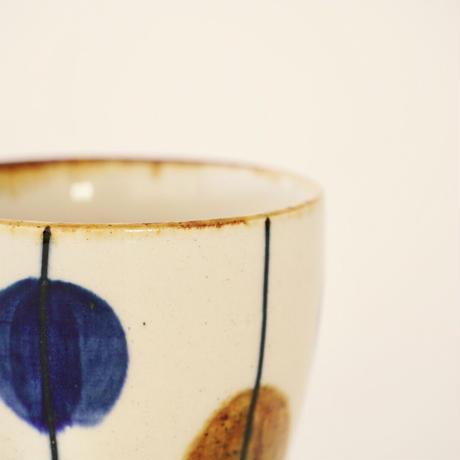 藍ブルー タンブラー 一珍水玉紋
