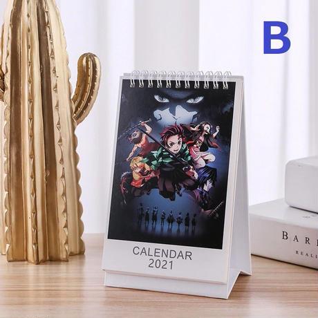 <2021年版> 鬼滅の刃 卓上カレンダー 2021年 キャラクター 19×11㎝ 令和3年【100枚ステッカー付き】