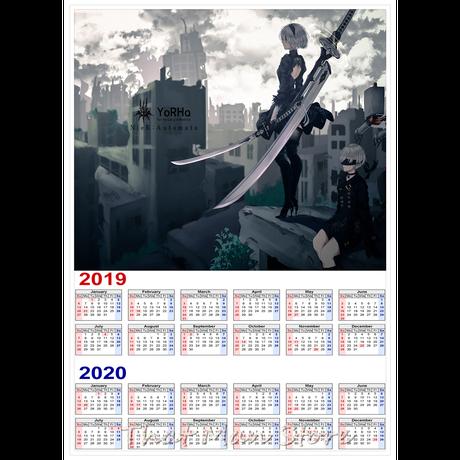 <2020年版> NieR:Automata  カレンダー A3サイズ キャラクター 2019年~2020年 42×30㎝ ポスター