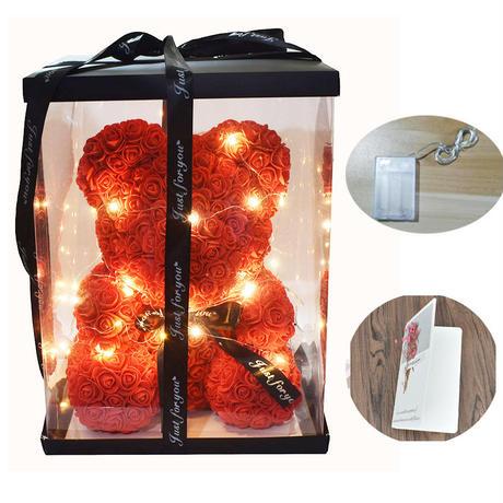 クマぬいぐるみ ギフトボックス LED ランプ ドライフラワー付き メッセージカード ローズくま