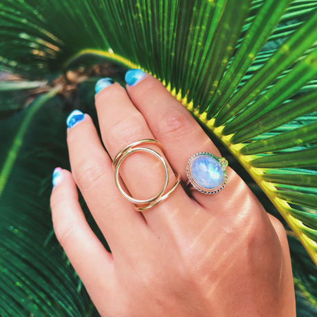 Rainbow Blue Moonstone Jewelry BOHO style