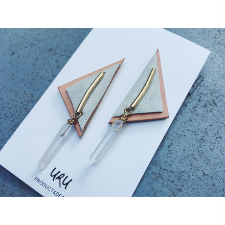 Pointed Crystal Leather Earrings