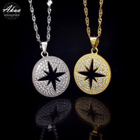 S925 22KGP CZ diamond  Open star necklace №4