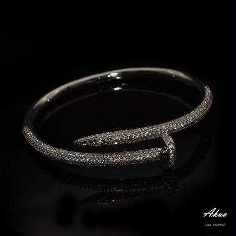 CZ diamond nail bangle stainless steel №13