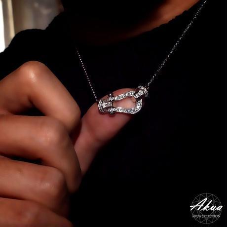 S925 22KGP CZ diamond side horse shoe necklace №8