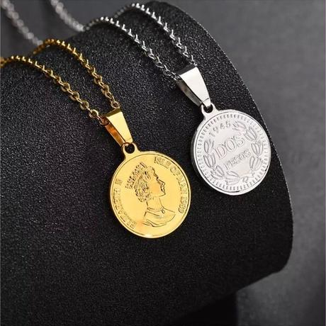 Elizabeth coin necklace stainless steel №18