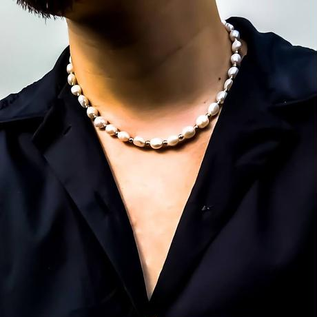 Big natural freshwater pearl mix necklace silver