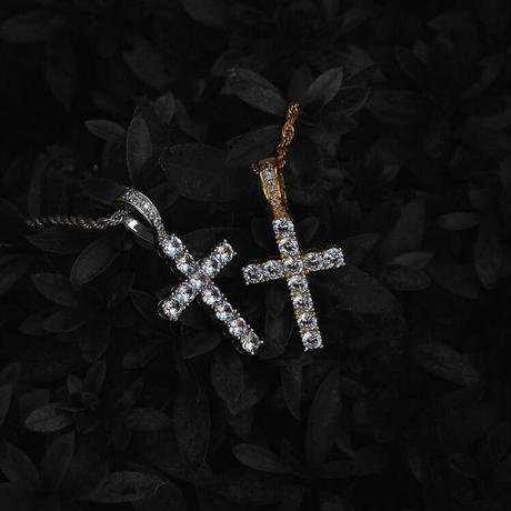 CZ diamond Cross necklace silver stainless steel №20
