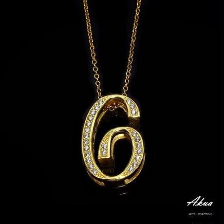 S925 22KGP number necklace gold No.6