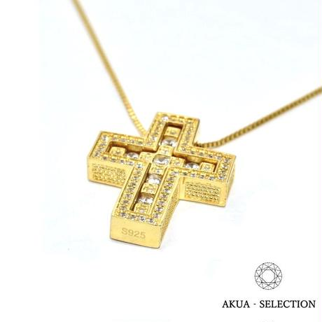 S925 22KGP separate cross necklace gold №3