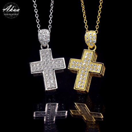 S925 22KGP CZ diamond cross necklace №12