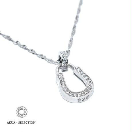S925 CZ diamond horse shoe necklace silver №8