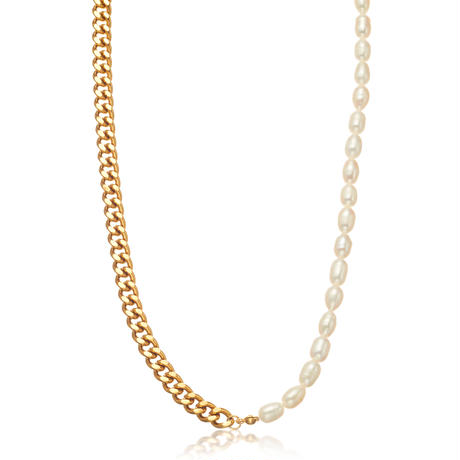 Natural freshwater pearl 喜平 necklace gold