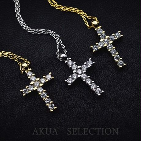 Zirconia cross necklace gold №21