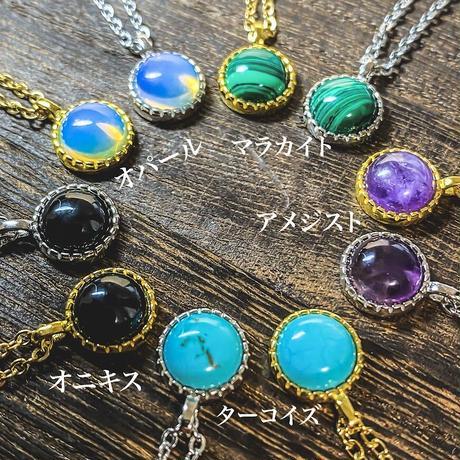 エチオピア産 天然石ネックレス gold・silver(5種)