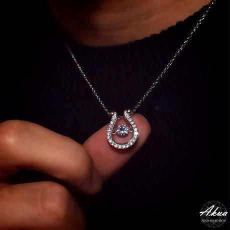 S925 22KGP large CZ diamond horse shoe necklace №10