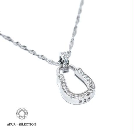 S925 22KGP CZ diamond horse shoe necklace №11
