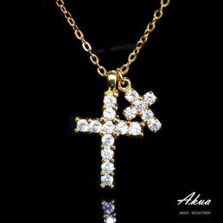 Zirconia Ⅱcross necklace gold №105