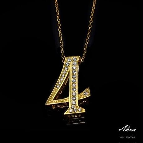 S925 22KGP number necklace gold No.4