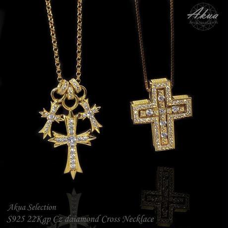 S925 22kgp CZ diamond cross necklace №3