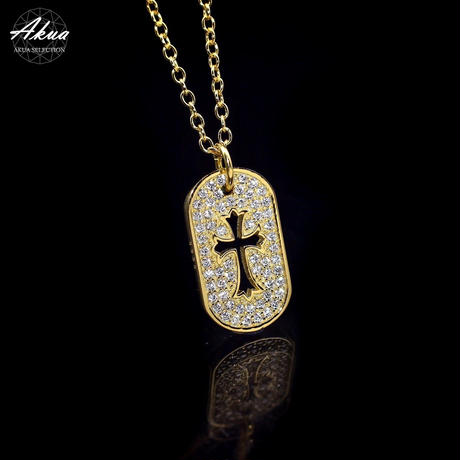 S925 22KGP CZ diamond Cross Plate necklace  №5