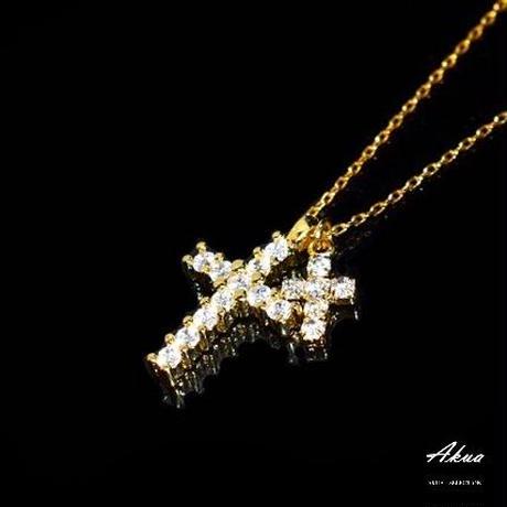 Zirconia Ⅱcross necklace gold №27