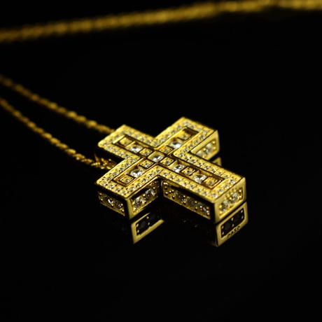S925 22KGP separate cross necklace gold No.42