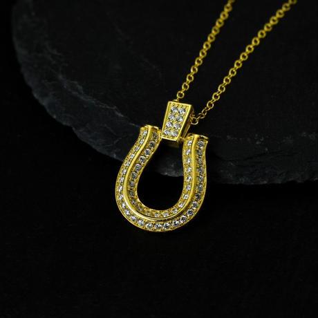 S925 22kgp CZ diamond horse shoe necklace gold 46