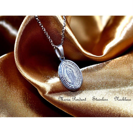 Maria coin necklace silver stainless steel №19