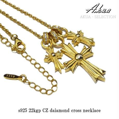 S925 22kgp CZ diamond cross necklace №3