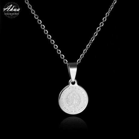 Maria coin necklace silver stainless steel №16