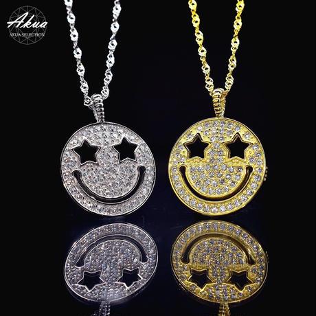S925 22KGP CZ diamond smile necklace №6