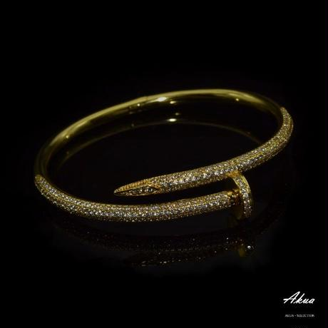 CZ diamond nail bangle gold stainless steel №17