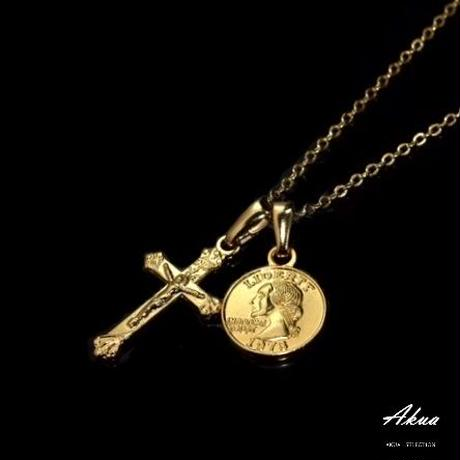 Maria cross & coin necklace gold №24