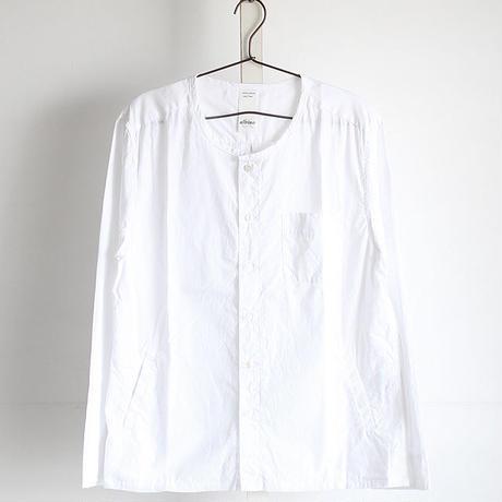 【albino】 カットオフ×ワッシャー加工ノーカラーシャツ
