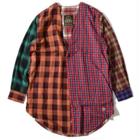 Collarless Nel Long Shirt(Brown)