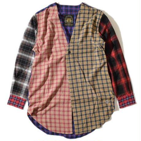 Collarless Nel Long Shirt(Beige)