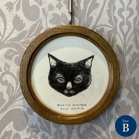 黒猫ドローイング丸額B