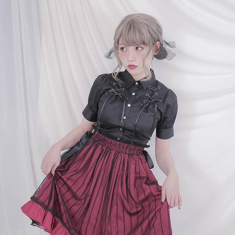 レディース シャツ ブラウス パンクメタル風  長袖 半袖 編み上げ ブラック 金属 ヴィジュアル