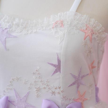 ロリータ ワンピース 夏 ドレス  星 かわいい 姫系 白 お嬢様 清楚 レディース