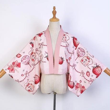 羽織 和風 ロリータ 苺 コスプレ  和ロリ  レディース  かわいい 紺色 桜色