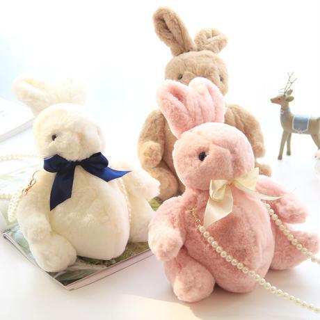 ショルダーバッグ ポシェット ウサギ型 ぬいぐるみ もこふわ 可愛い パールチェーン ロリータ 手さげ ゆるわ女子 選べる5色
