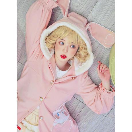 ロリータ コート うさ耳 兎 甘ロリ フード付き 萌え うさぎ 冬 もこもこ 暖か ピンク ハート 上着 防寒 ロリィタ