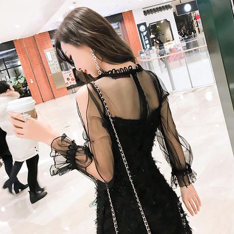 リトルブラックドレス ワンピース シースルー セクシー 美しい ナイトドレス