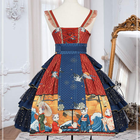 和風 ロリータ ワンピース 和ロリ 浮世絵 オリジナル 猫 コスチューム 衣装 レディース コスプレ