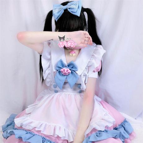 ロリータ 甘ロリ ワンピース エプロン メイドカフェ ヘアドレス セット 半袖  猫 XS-4XL レディース 喫茶 コスプレ